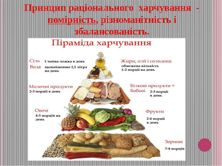 Принцип раціонального харчування - помірність, різноманітність і збалансовані...