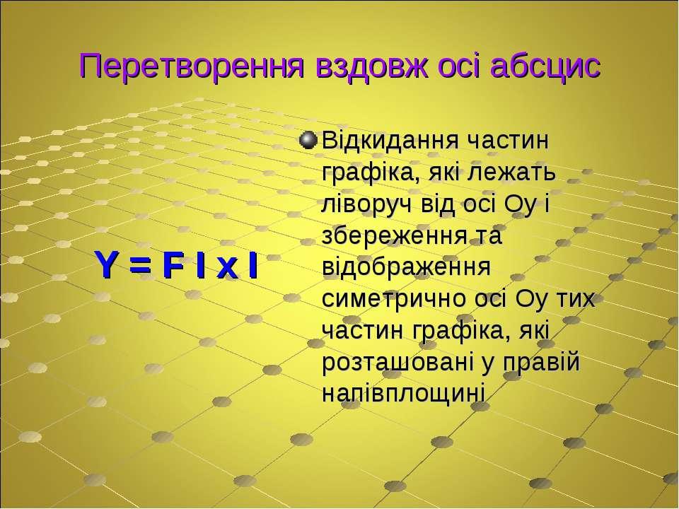 Перетворення вздовж осі абсцис Y = F І x І Відкидання частин графіка, які леж...