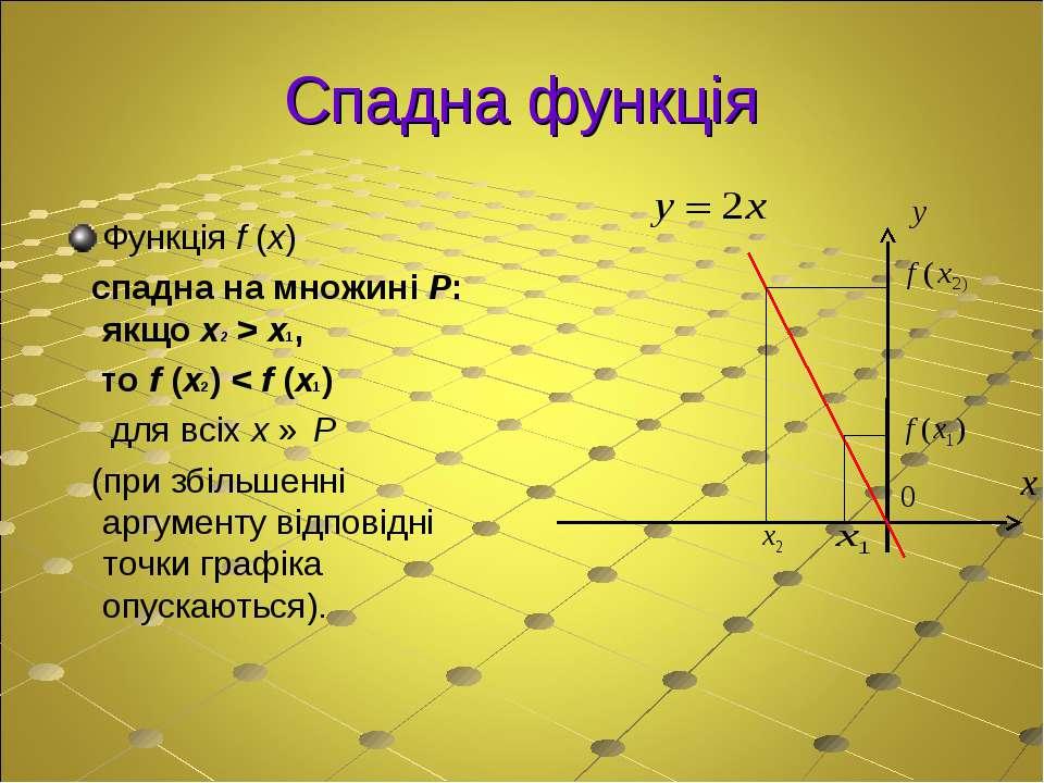 Спадна функція Функція f (x) спадна на множині P: якщо x2 > x1, то f (x2) < f...