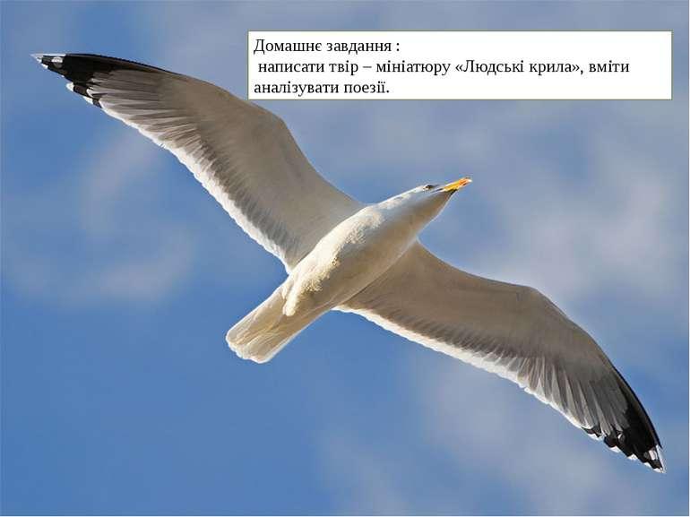 Домашнє завдання : написати твір – мініатюру «Людські крила», вміти аналізува...