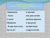 Фразеологічна скарбничка З'єднайте стрілочками частини фразеологічних звороті...