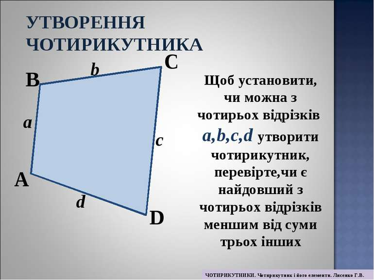 Щоб установити, чи можна з чотирьох відрізків a,b,c,d утворити чотирикутник, ...