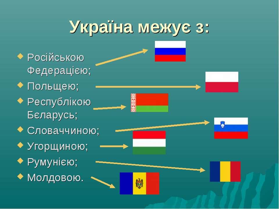 Україна межує з: Російською Федерацією; Польщею; Республікою Бєларусь; Словач...