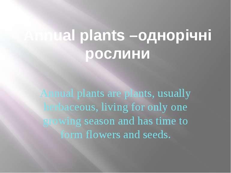 Annual plants –однорічні рослини Annual plants are plants, usually herbaceous...