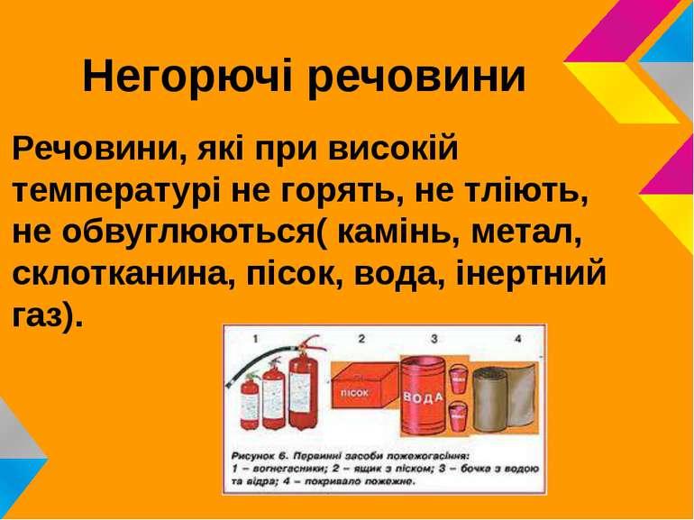 Негорючі речовини Речовини, які при високій температурі не горять, не тліють,...