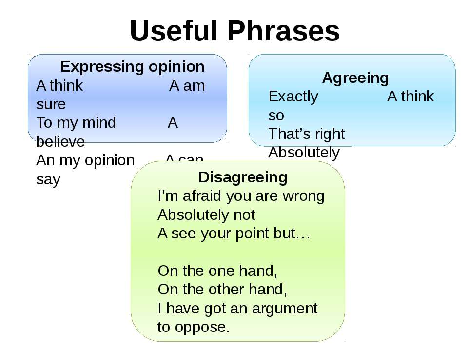 Useful Phrases Expressing opinion A think A am sure To my mind A believe An m...