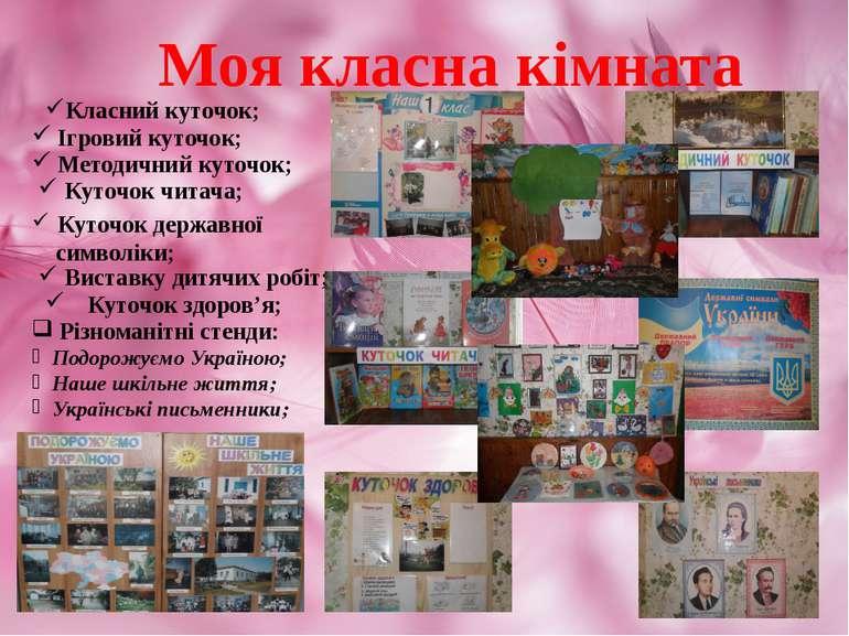Моя класна кімната Ігровий куточок; Методичний куточок; Куточок читача; Куточ...