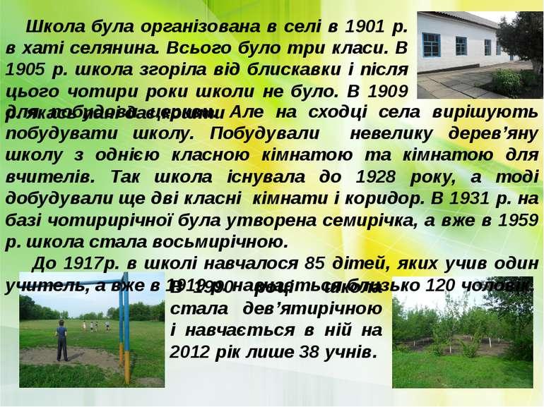 Школа була організована в селі в 1901 р. в хаті селянина. Всього було три кла...