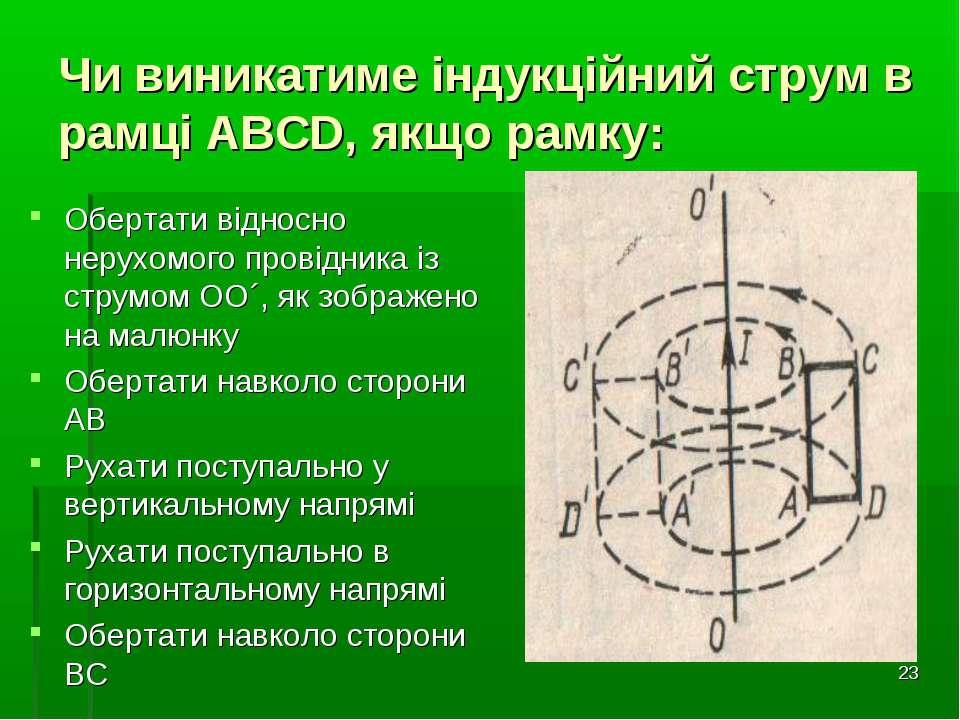 * Чи виникатиме індукційний струм в рамці АВСD, якщо рамку: Обертати відносно...