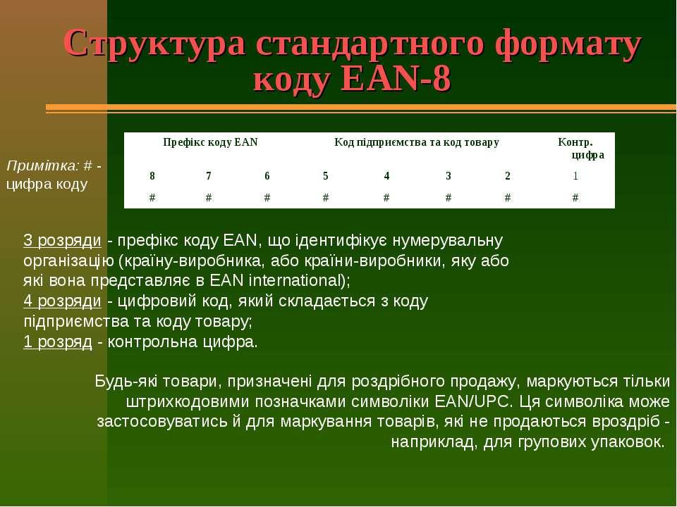 Структура стандартного формату коду EAN-8 3 розряди - префікс коду EAN, що ід...