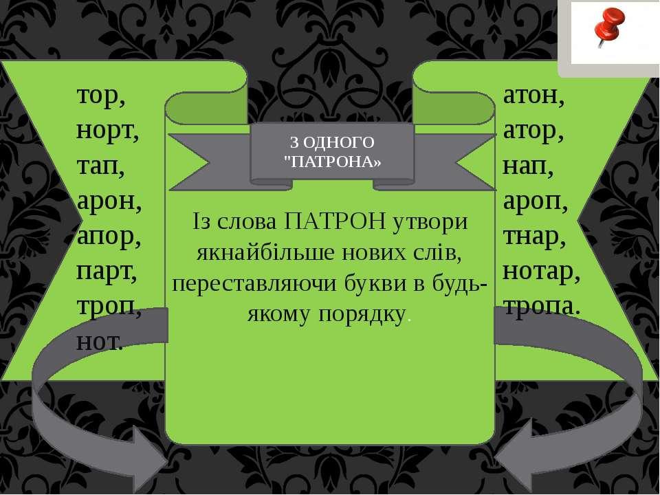 Із слова ПАТРОН утвори якнайбільше нових слів, переставляючи букви в будь-яко...