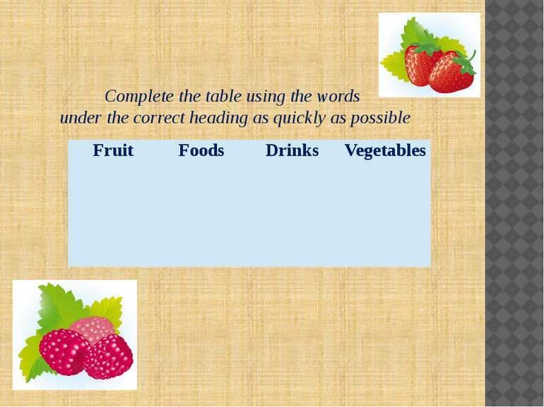 Complete the table using the words under the correct heading as quickly as po...
