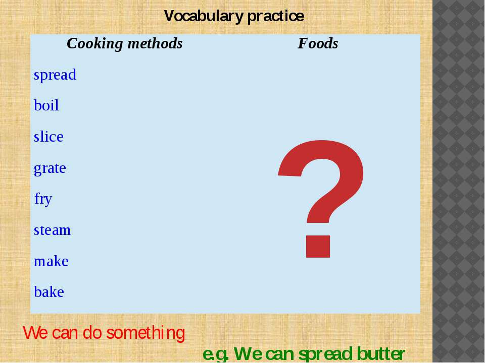 Vocabulary practice ? We can do something e.g. We can spread butter Cooking m...
