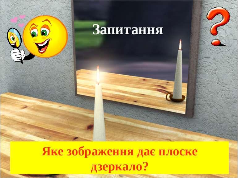 Запитання Яке зображення дає плоске дзеркало?
