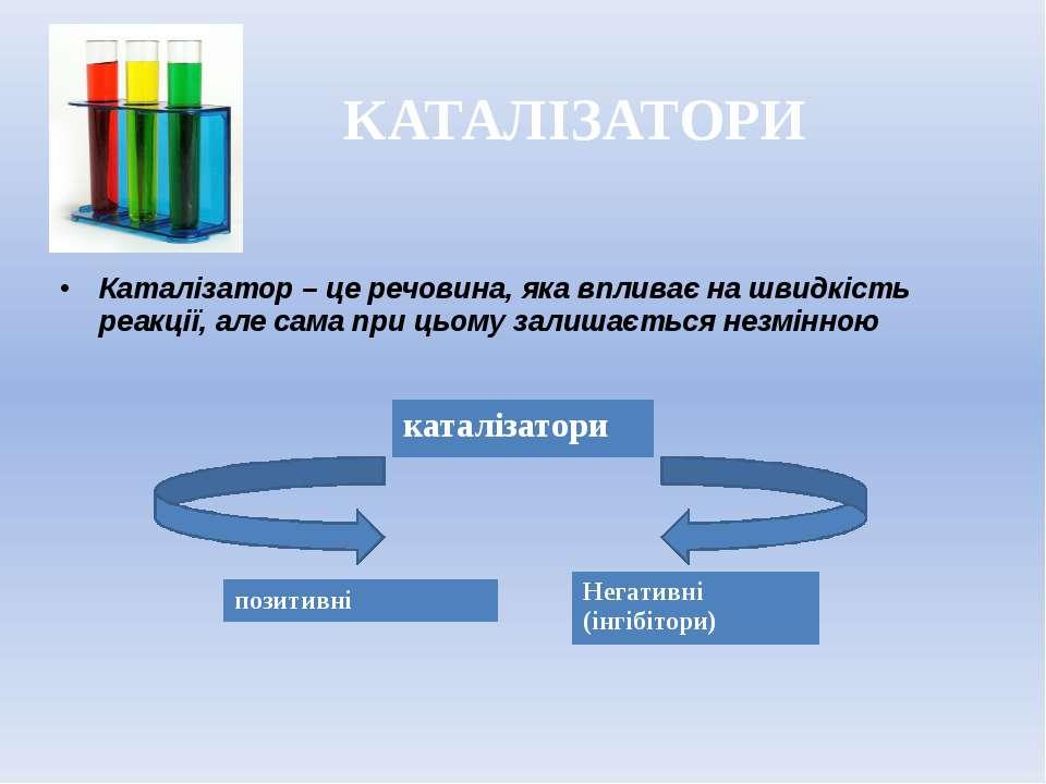 КАТАЛІЗАТОРИ Каталізатор – це речовина, яка впливає на швидкість реакції, але...