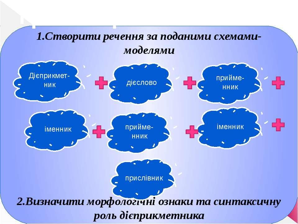 1.Створити речення за поданими схемами-моделями 2.Визначити морфологічні озна...