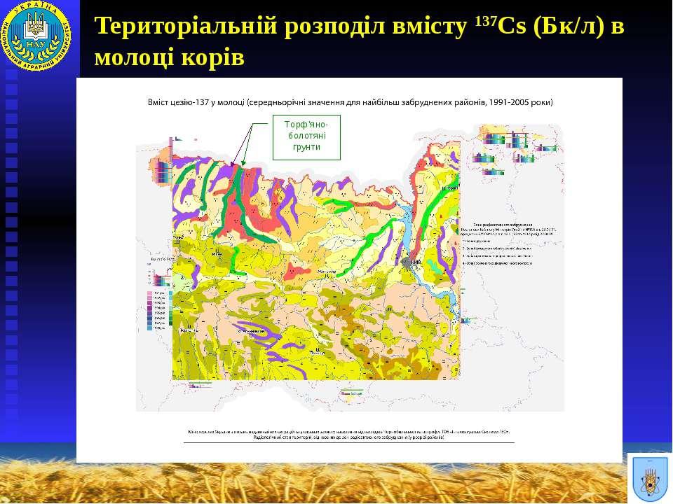 Територіальній розподіл вмісту 137Cs (Бк/л) в молоці корів