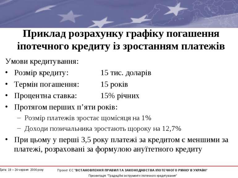 Приклад розрахунку графіку погашення іпотечного кредиту із зростанням платежі...