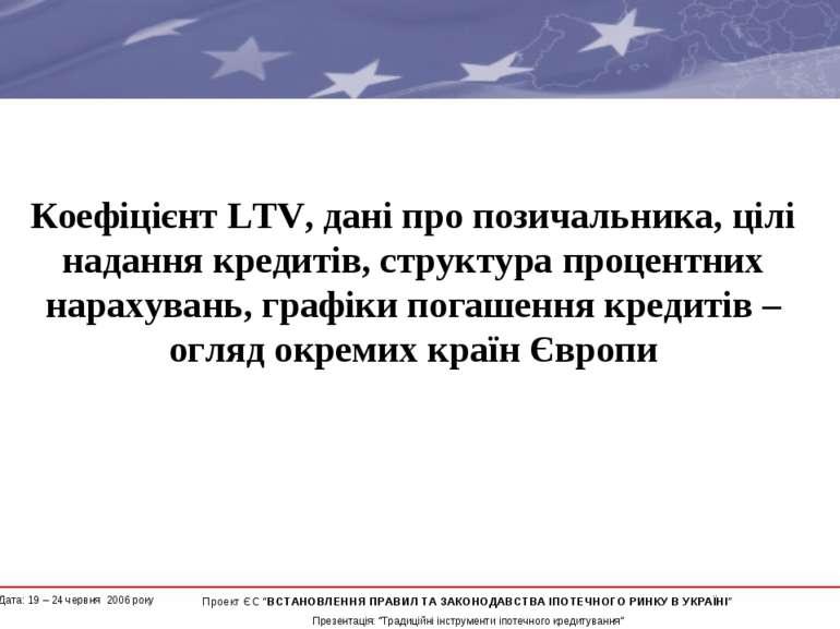 Коефіцієнт LTV, дані про позичальника, цілі надання кредитів, структура проце...