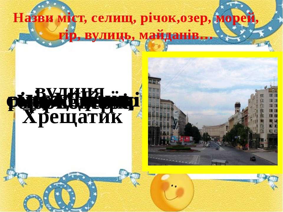 Назви міст, селищ, річок,озер, морей, гір, вулиць, майданів… місто Київ село ...