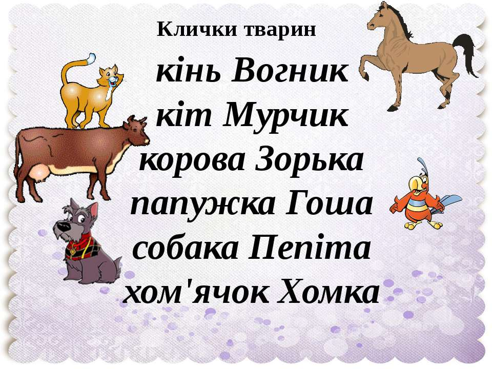 Клички тварин кінь Вогник кіт Мурчик корова Зорька папужка Гоша собака Пепіта...