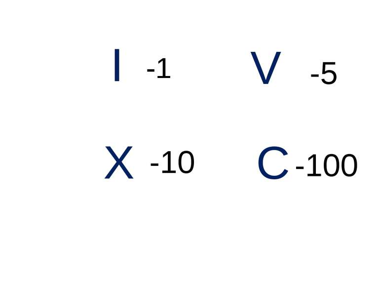 I V X C -1 -5 -10 -100