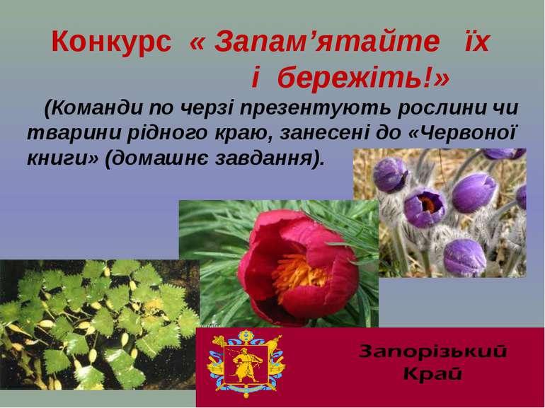 Конкурс « Запам'ятайте їх і бережіть!» (Команди по черзі презентують рослини ...