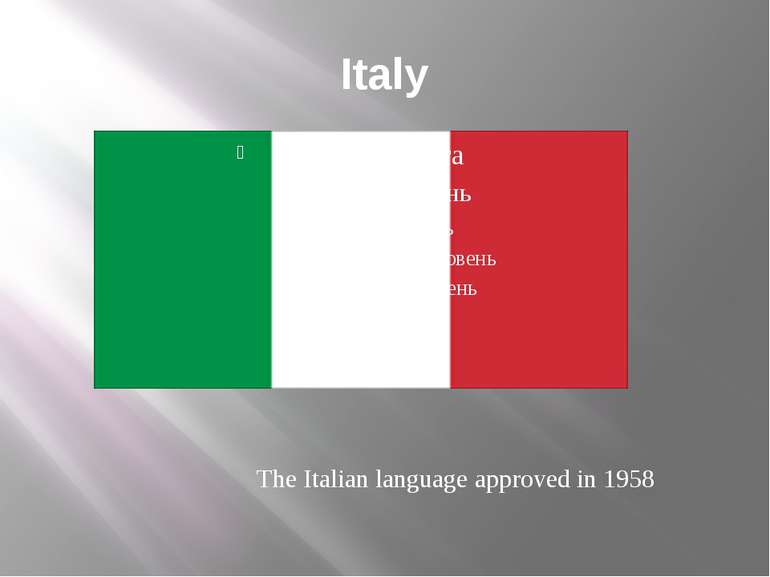 Italy The Italian language approved in 1958