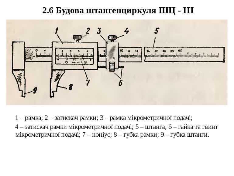 2.6 Будова штангенциркуля ШЦ - ІІІ 1 – рамка; 2 – затискач рамки; 3 – рамка м...