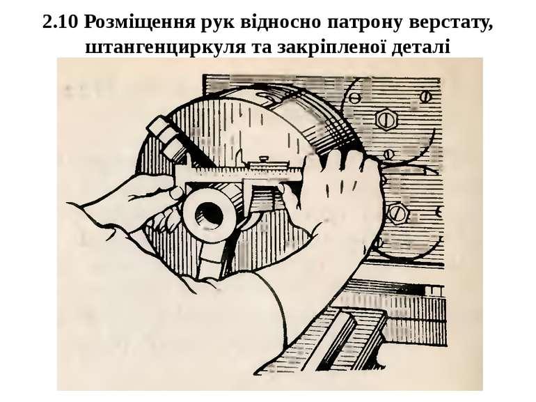 2.10 Розміщення рук відносно патрону верстату, штангенциркуля та закріпленої ...