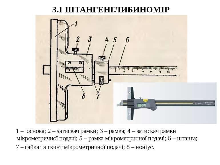 3.1 ШТАНГЕНГЛИБИНОМІР 1 – основа; 2 – затискач рамки; 3 – рамка; 4 – затискач...
