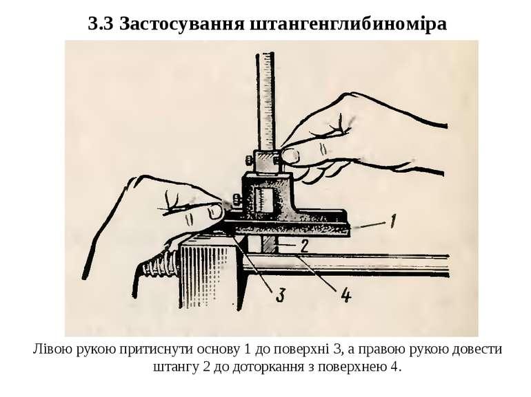 3.3 Застосування штангенглибиноміра Лівою рукою притиснути основу 1 до поверх...