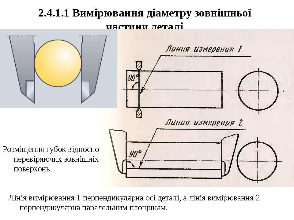 2.4.1.1 Вимірювання діаметру зовнішньої частини деталі Лінія вимірювання 1 пе...