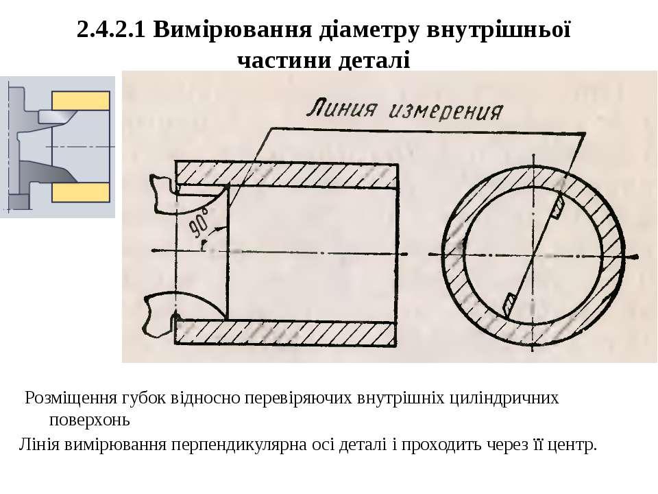 2.4.2.1 Вимірювання діаметру внутрішньої частини деталі Лінія вимірювання пер...