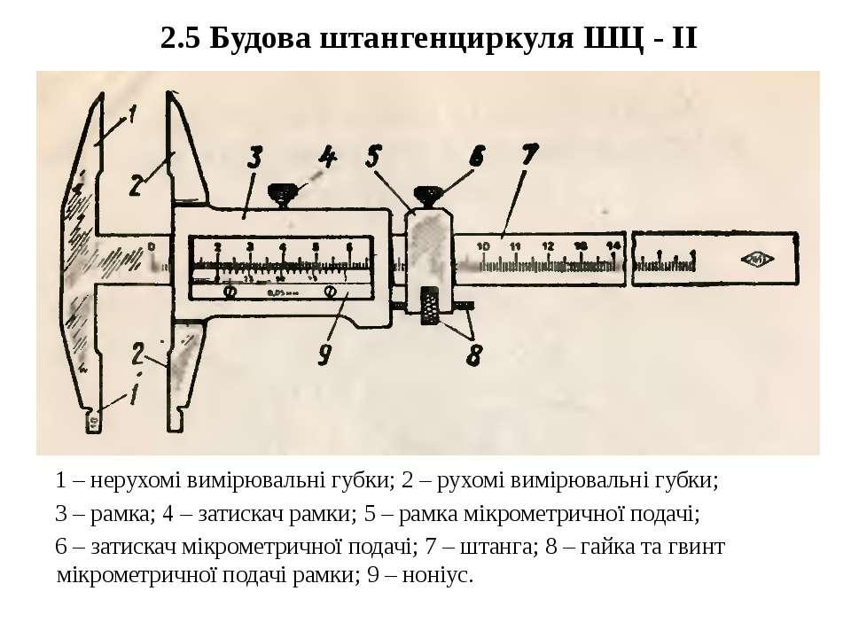 2.5 Будова штангенциркуля ШЦ - ІІ 1 – нерухомі вимірювальні губки; 2 – рухомі...
