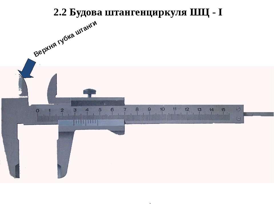 . 2.2 Будова штангенциркуля ШЦ - І Верхня губка штанги