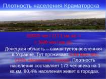Плотность населения Краматорска 198925 чел / 117,1 км. кв. = = 1699 чел / км....