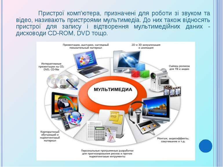 Пристрої комп'ютера, призначені для роботи зі звуком та відео, називають прис...