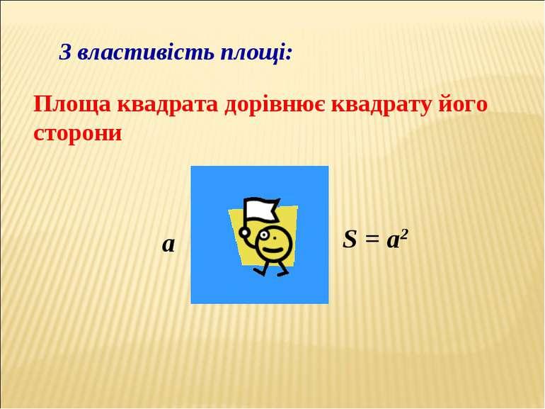 3 властивість площі: Площа квадрата дорівнює квадрату його сторони a S = a2
