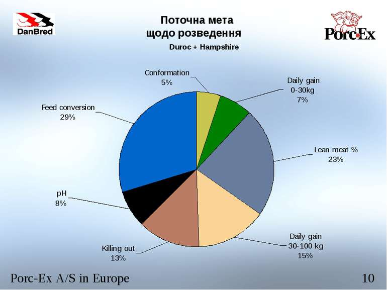 Поточна мета щодо розведення Duroc + Hampshire Porc-Ex A/S in Europe