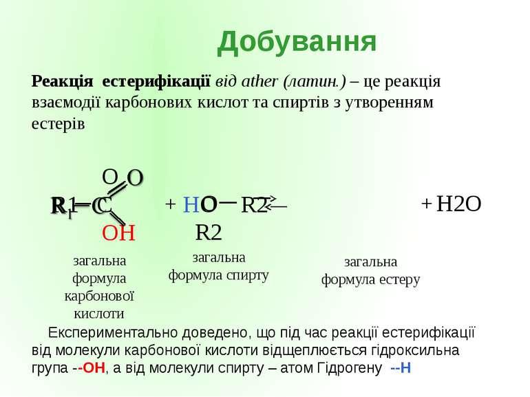 + загальна формула карбонової кислоти загальна формула спирту загальна формул...