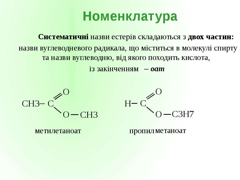 CH3 метил етаноат C3H7 пропил метаноат Систематичні назви естерів складаються...