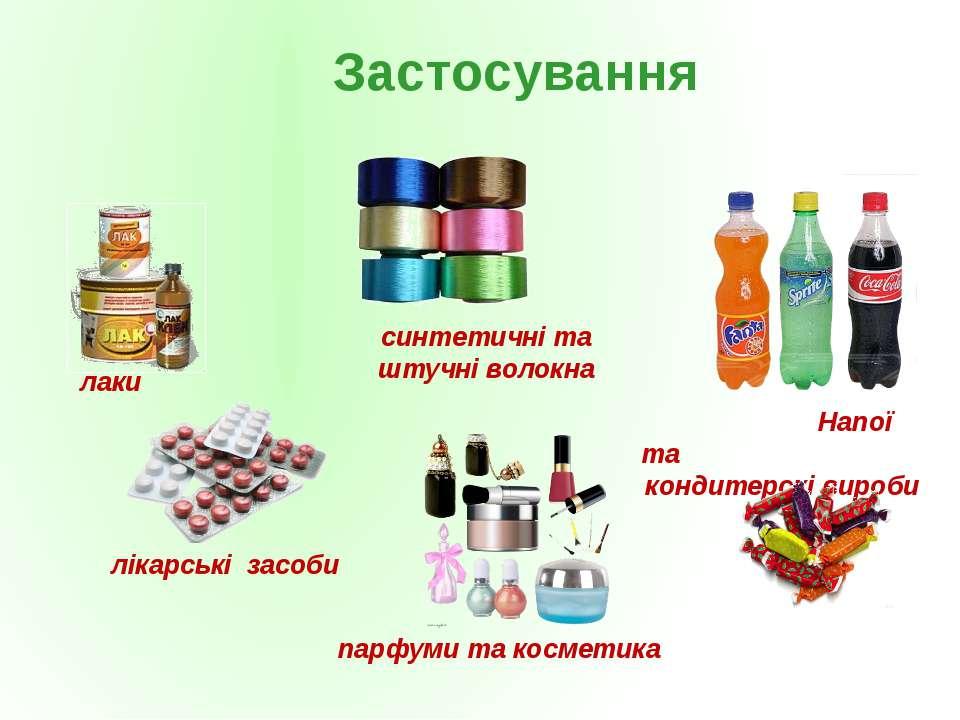 лікарські засоби синтетичні та штучні волокна лаки Напої та кондитерскі вироб...