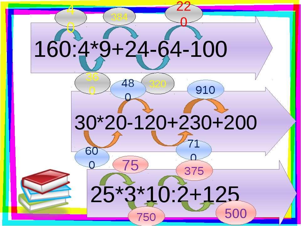 160:4*9+24-64-100 30*20-120+230+200 25*3*10:2+125 40 360 384 320 220 480 600 ...