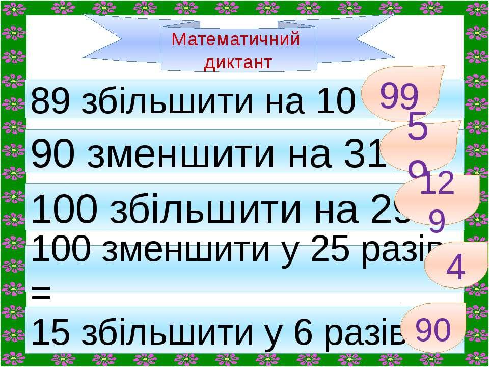 Математичний диктант 89 збільшити на 10 = 90 зменшити на 31= 100 збільшити на...