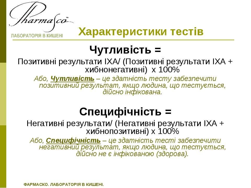 Характеристики тестів Чутливість = Позитивні результати ІХА/ (Позитивні резул...