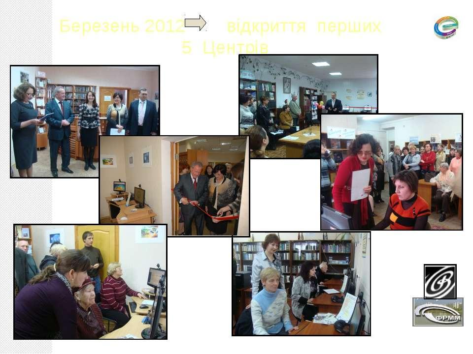 Березень 2012 відкриття перших 5 Центрів
