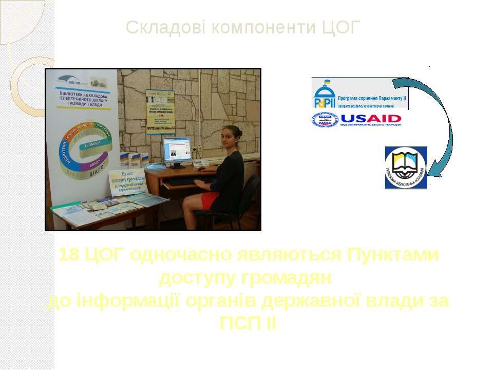 18 ЦОГ одночасно являються Пунктами доступу громадян до інформації органів де...