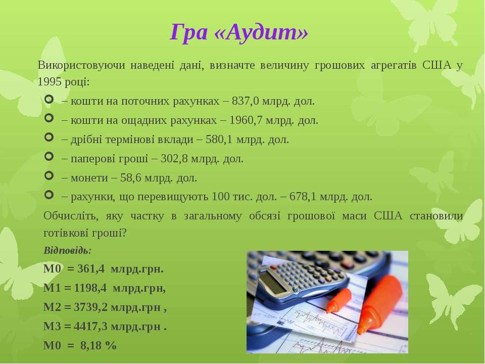 Гра «Аудит» Використовуючи наведені дані, визначте величину грошових агрегаті...
