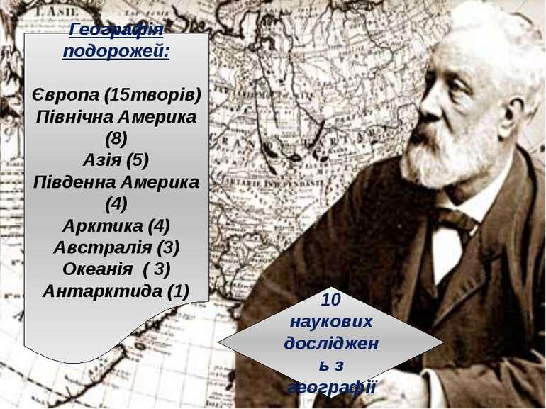Географія подорожей: Європа (15творів) Північна Америка (8) Азія (5) Південна...
